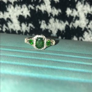 Vintage three stone emerald ring, sterling silver